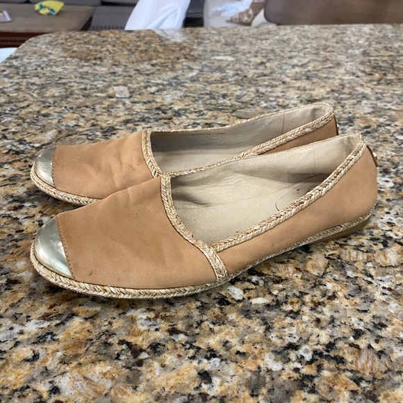 Stuart weitzman 7.5 brown leather flat espadrilles